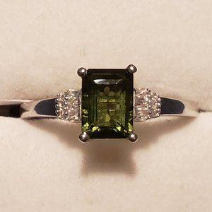Faceted Moldavite & Diamond ring 1.50 cts Plat/925